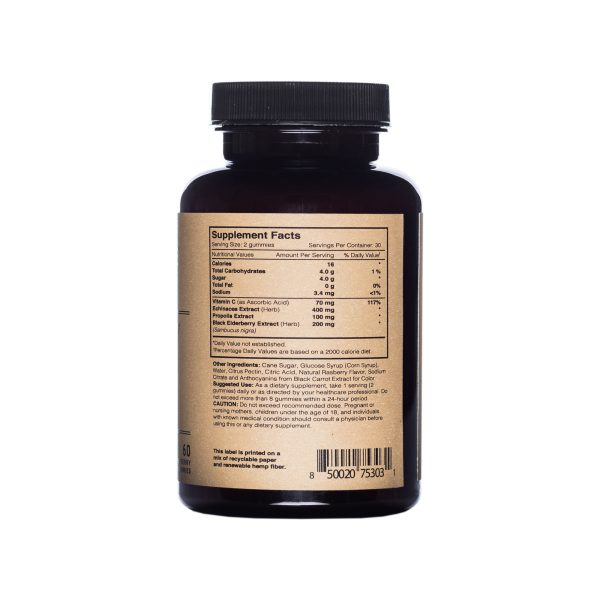 Photo of Fact, ingredients and use panel of Elderberry Immune Complex bottle
