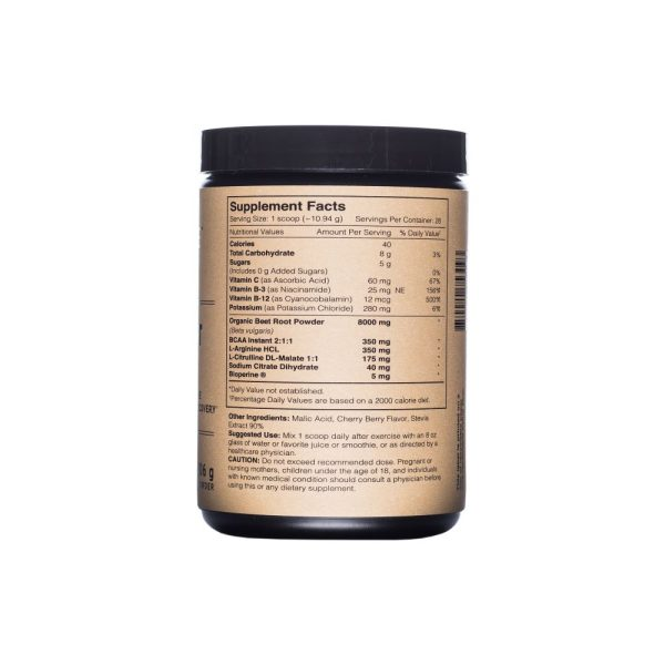 Photo of Supplement Facts, ingredients and use label for Beet Root Powder