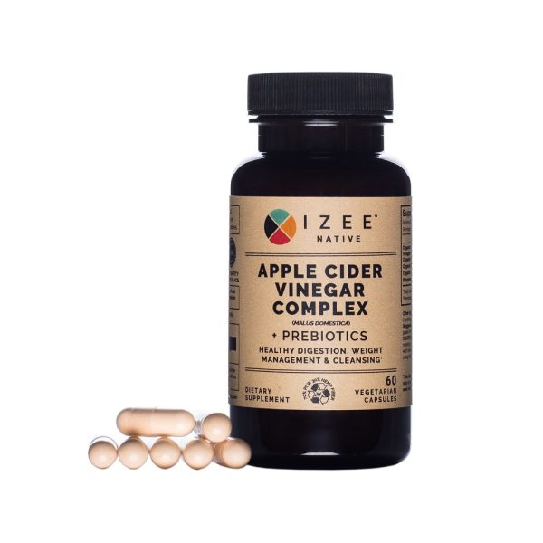 Photo of a pill bottle labeled apple cider vinegar complex and gel caps next to it.
