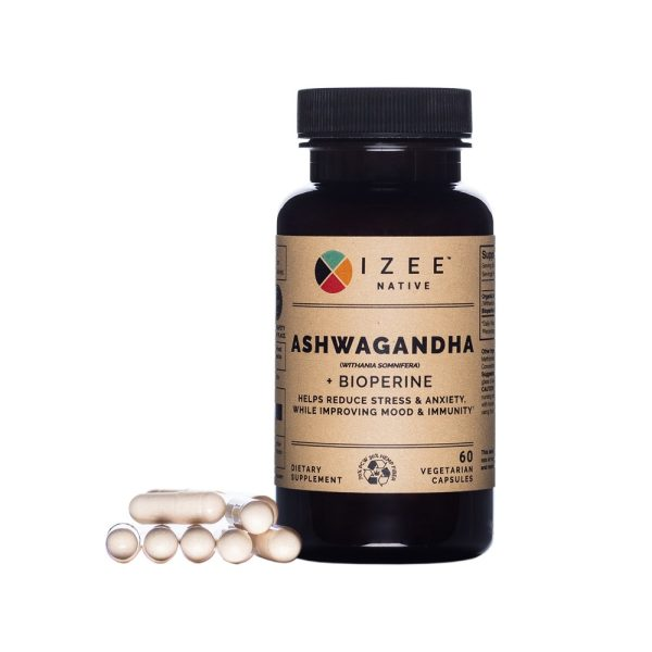 Photo of a pill bottle labeled ashwagandha and gel caps.