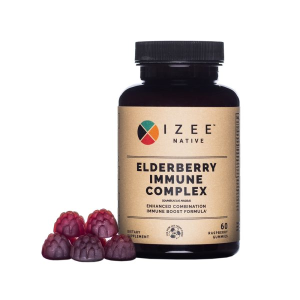Photo of a pill bottle labeled elderberry immune complex and purple gummies.