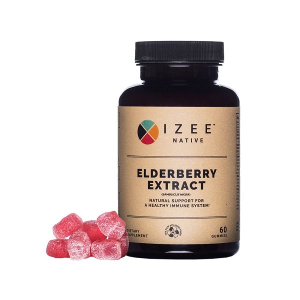 Photo of pill bottle labeled elderberry extract and along with gummies