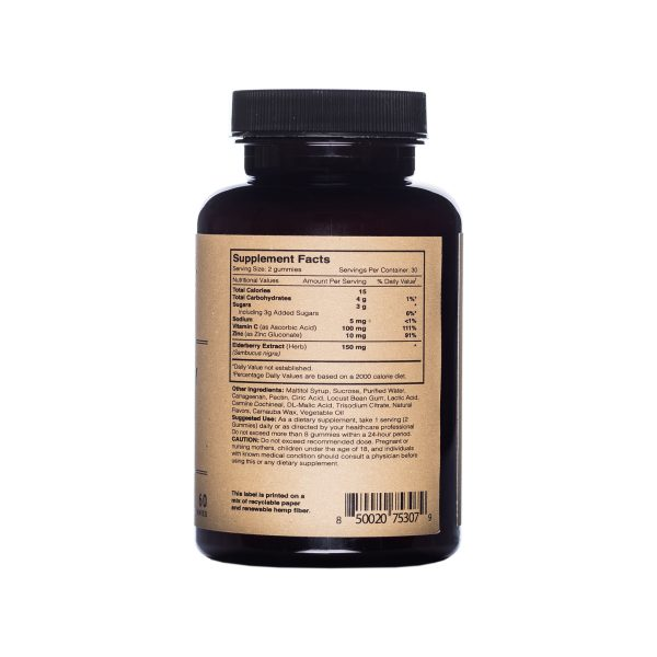 Photo of Elderberry_Extract_Gummies side view nutrition facts