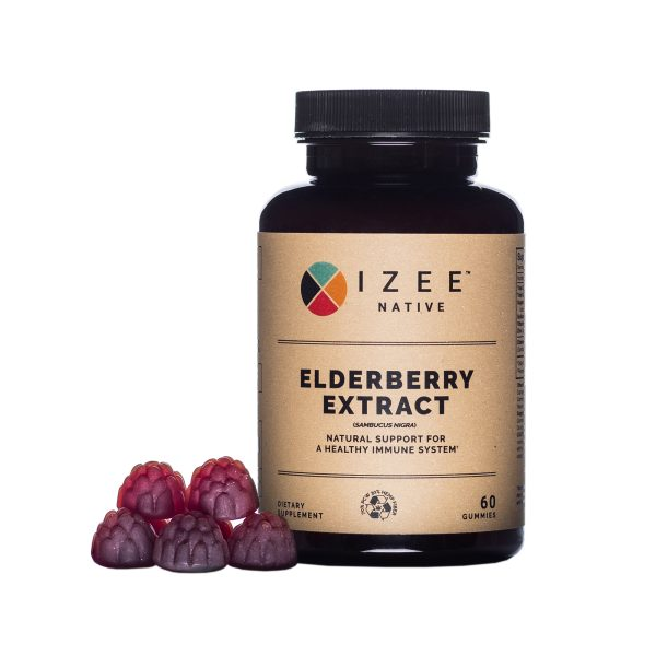 Photo of Elderberry Extract bottle with gummies on the right