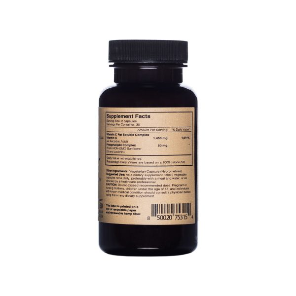 Photo of Facts, ingredients and uses label of Lyposomal Vitamin C Capsules